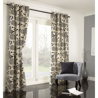 Home Of Style Sholly Floral Black Curtains 66x90in at Homebase & Home Of Style Sholly Floral Black Curtains 66x90in at Homebase ...