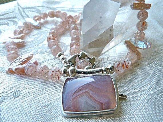 Laguna Agate Pendant / Strawberry Sunstone / by StoneSongNecklaces, $165.00