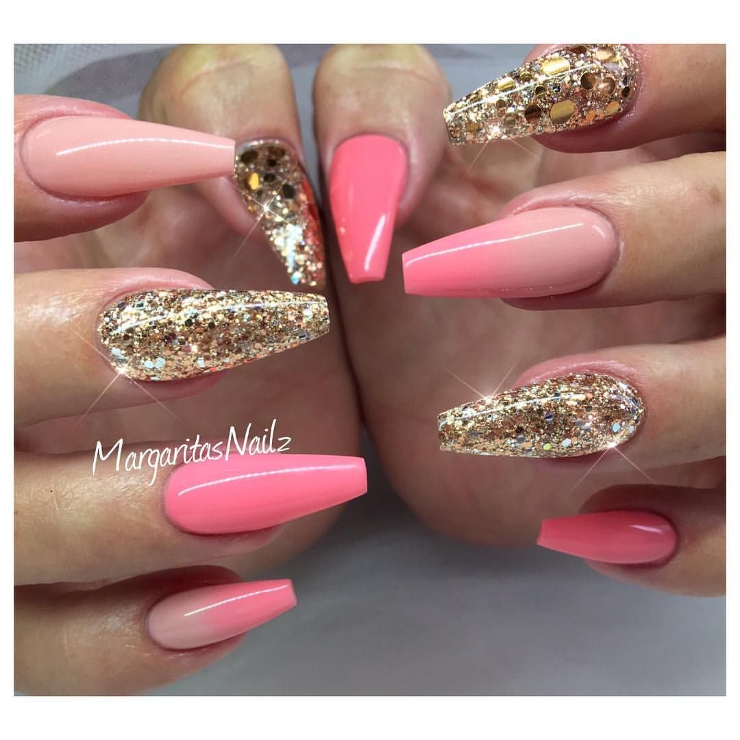 rose gold and ombré coffin nails | margaritasnailz | pinterest
