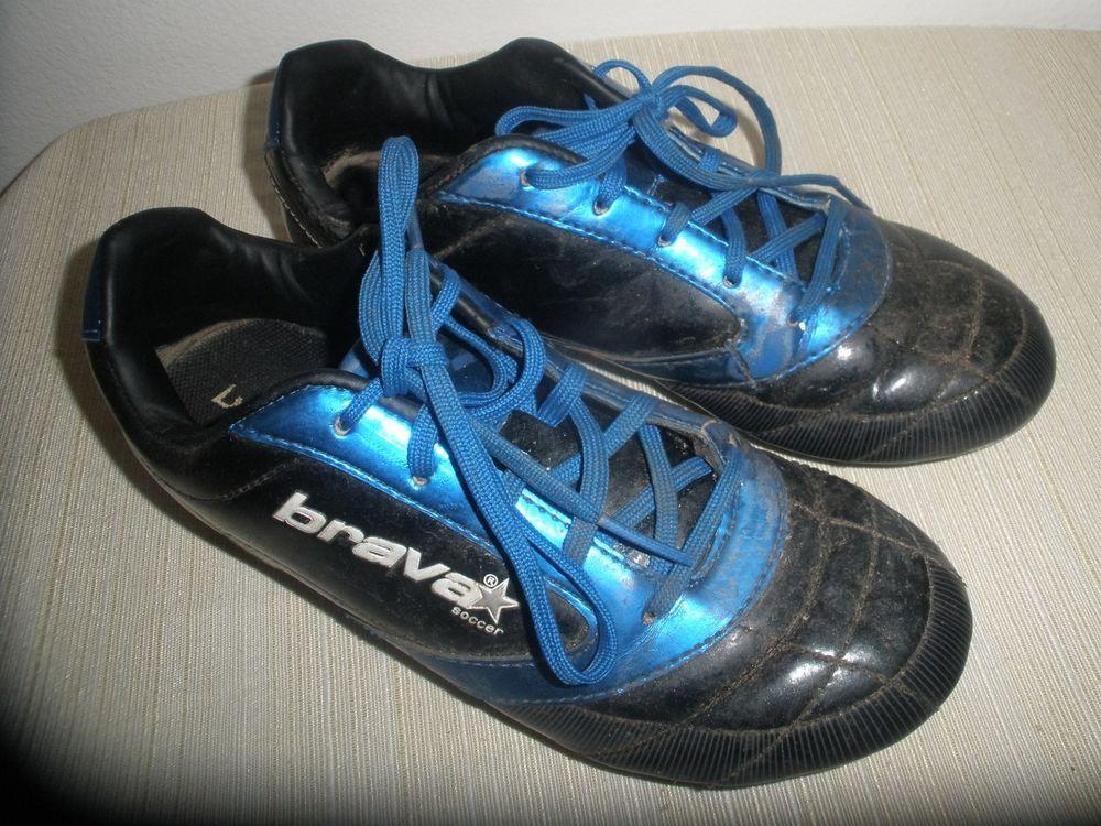 Brava Soccer Cleats Black and Blue Youth Boys Size 4  brava  1753d44107ca