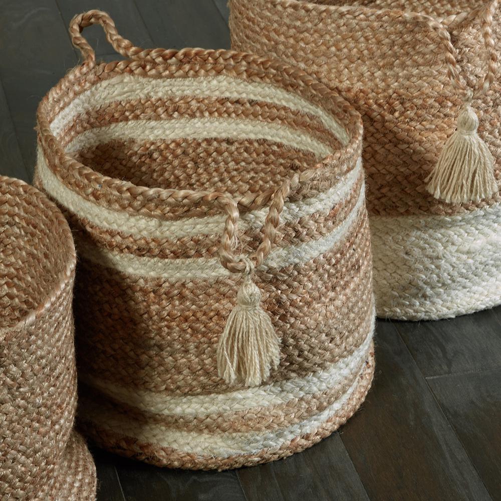 LR Resources Natural Jute Decorative Storage Basket, Brown