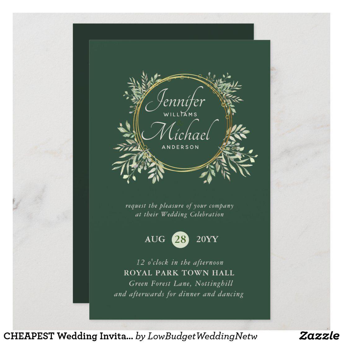 Cheapest Wedding Invitation Greenery Wreath Budget In 2021 Cheap Wedding Invitations Budget Wedding Invitations Wedding Invitations