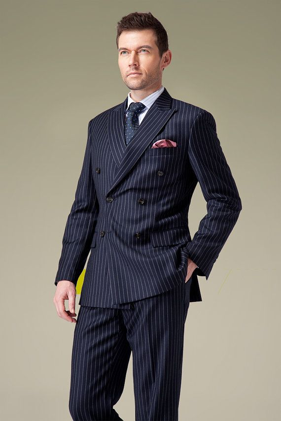 Handmade Double Breasted Navy Pinstripe Suit by UPUNIQUE on Etsy ...