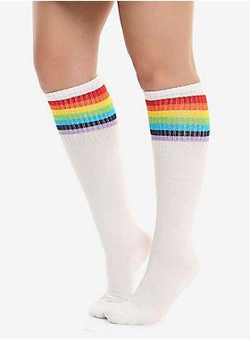 Pair of Mens Gay Rainbow Printed with Pride in White Socks