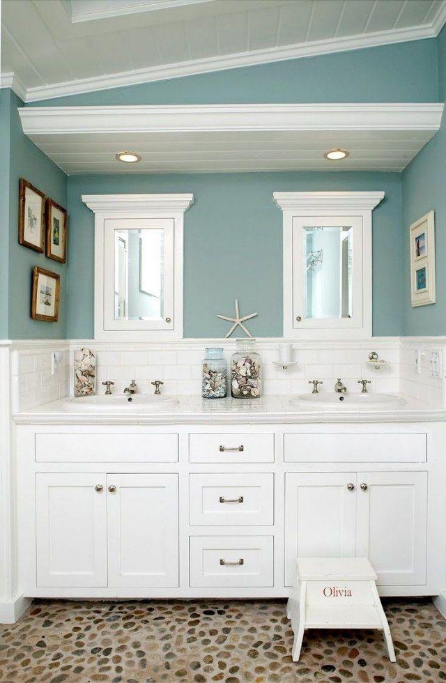 Décoration salle de bain - 26 belles idées en style nautique - peindre plafond salle de bain