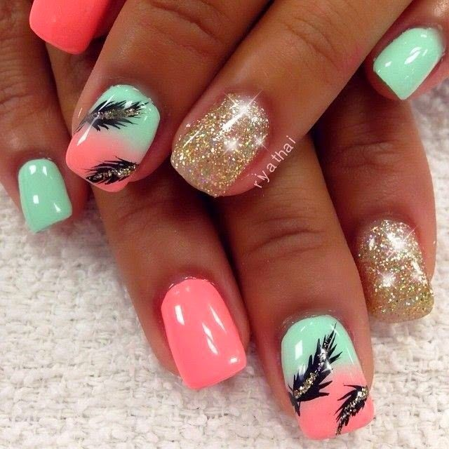 Nail Design Ideas 2015 cool nail design for short nails 40 Examples Of Feather Nail Art