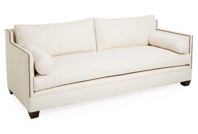 Gramercy 84 Inch Brass Nailhead Studded Ivory Sofa Classically