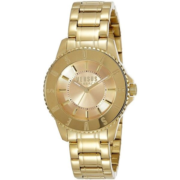 Versus by Versace TOKYO Gold Ion-Plated Stainless Steel Bracelet Watch (940 SAR) ❤ liked on Polyvore featuring jewelry, watches, watch bracelet, stainless steel jewelry, water resistant watches, quartz movement watches and gold bracelet watch