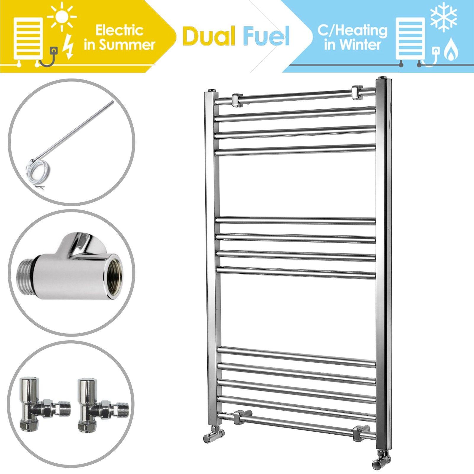 ENKI 1000 x 600 mm Curved Heated Towel Rail Radiator incl Dual Fuel Kit