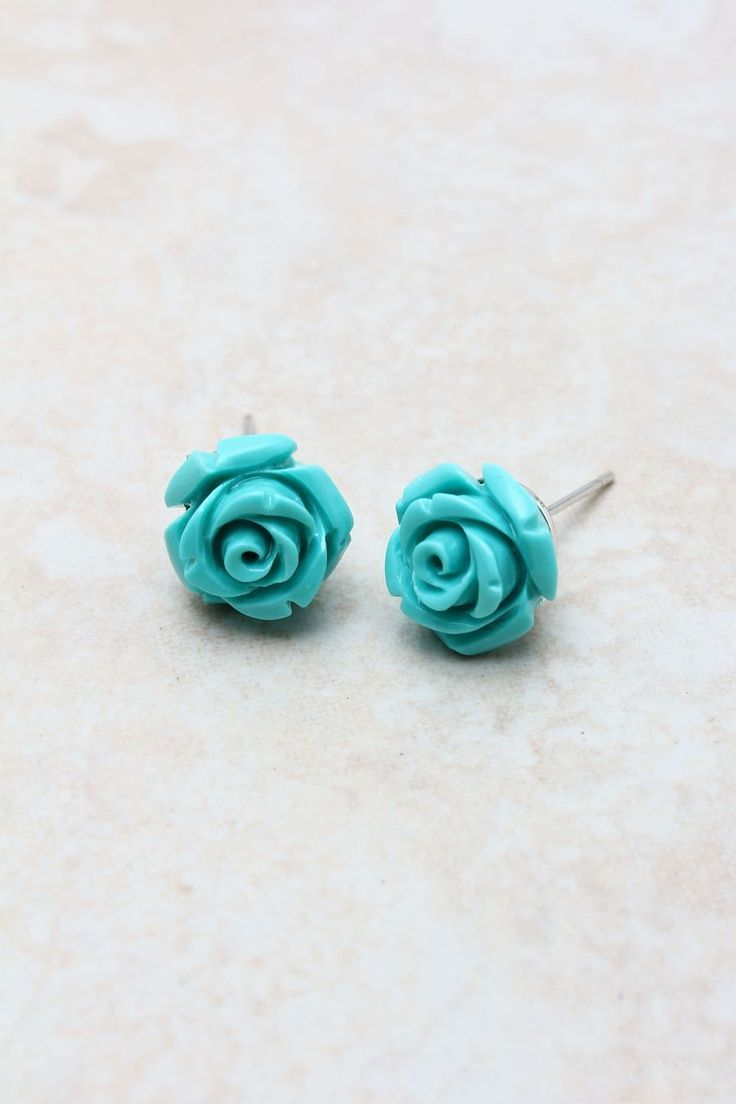 Teal rose stud earrings   * Kiss & Make Up Girl Obsessions ...