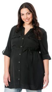 b72a29ad404 Motherhood Plus Size 3 4 Sleeve Mandarin Collar Button Detail Maternity  Blouse on shopstyle.com