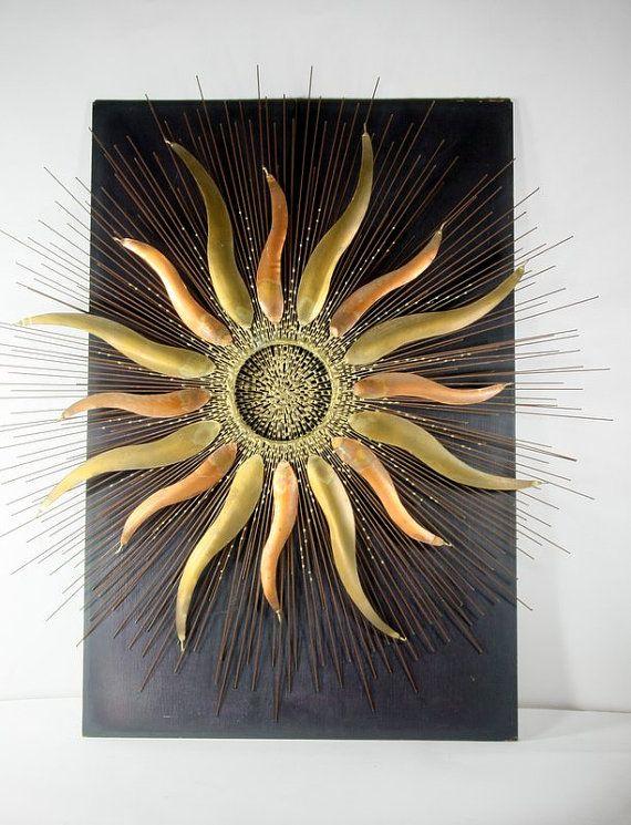 Vintage Copper Brass Sunburst Sun Star Wall Hanging Mid Century Outdoor Wall Art Celestial Art Vintage Wall Art