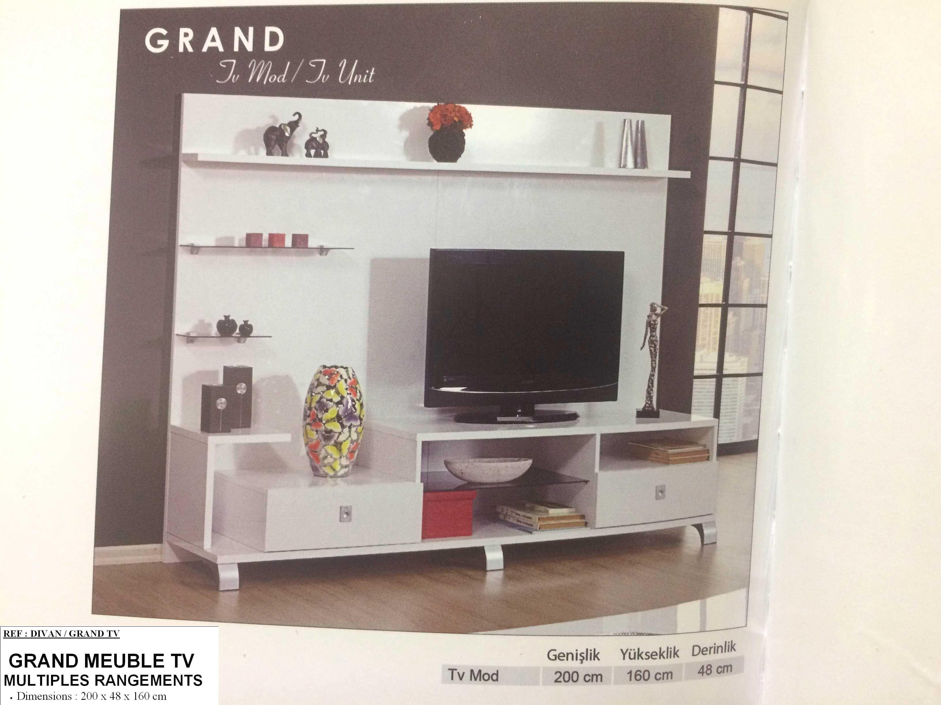 Meuble Tv Living Dekora Avec Divan Grand Tv Et Grand Meuble Tv