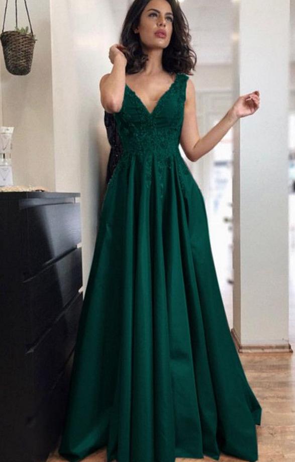 V Neck Hunter Green Prom Dress Anne1989 Prom Dresses In 2019