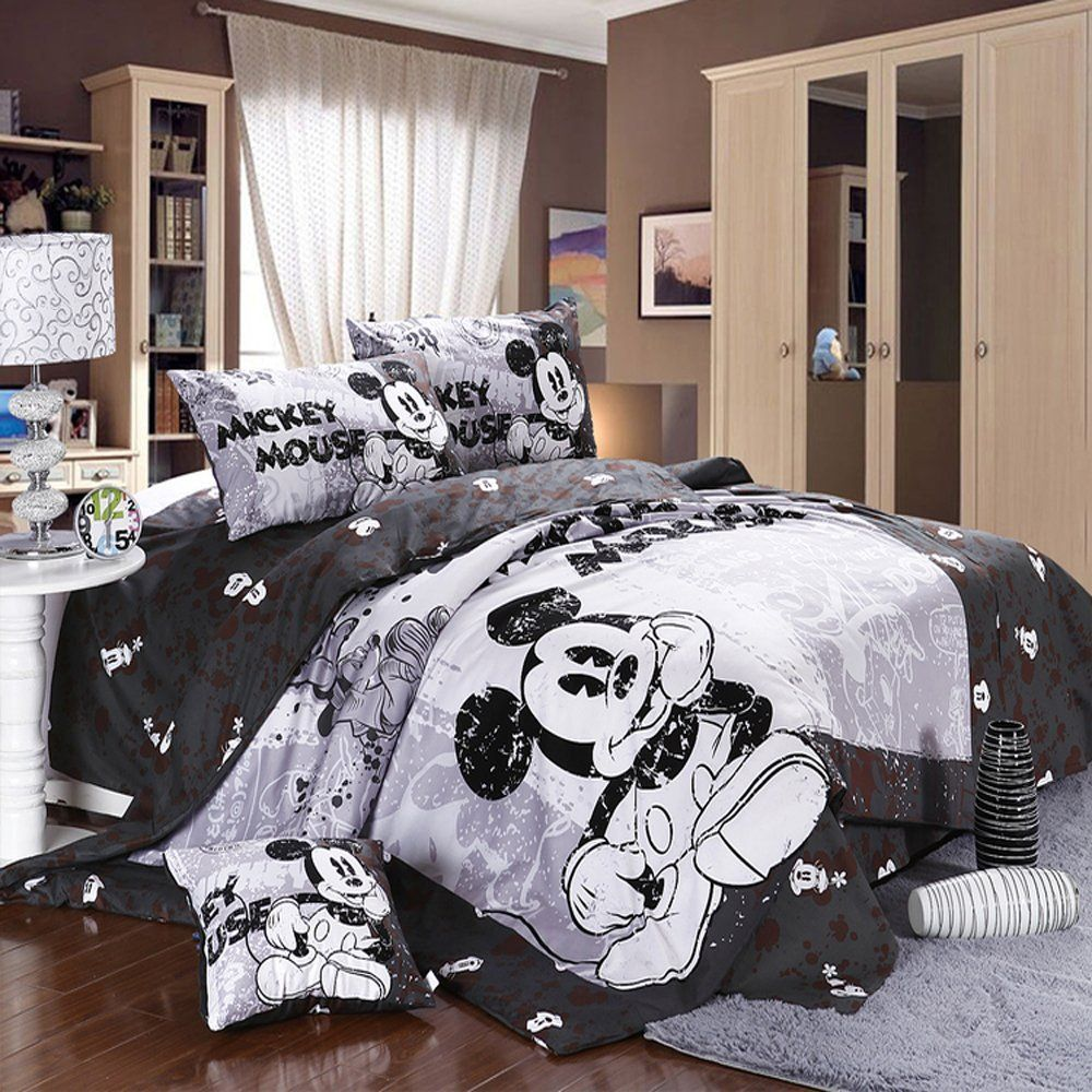 Mickey and Minnie Mouse King Queen Adults Cartoon Bedding Set 4 Pcs Cotton  Bed Sheet Grey Linens Doona Duvet Cover and 2 Pillowcase. Cutest Mickey Mouse Bedding for Kids and Adults Too    Disney
