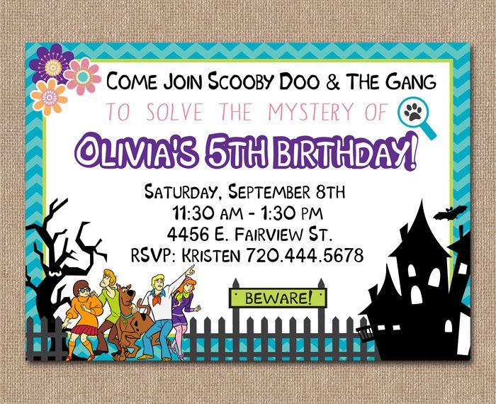 SCOOBY DOO Birthday Invitation Carters 4th Birthday Pinterest