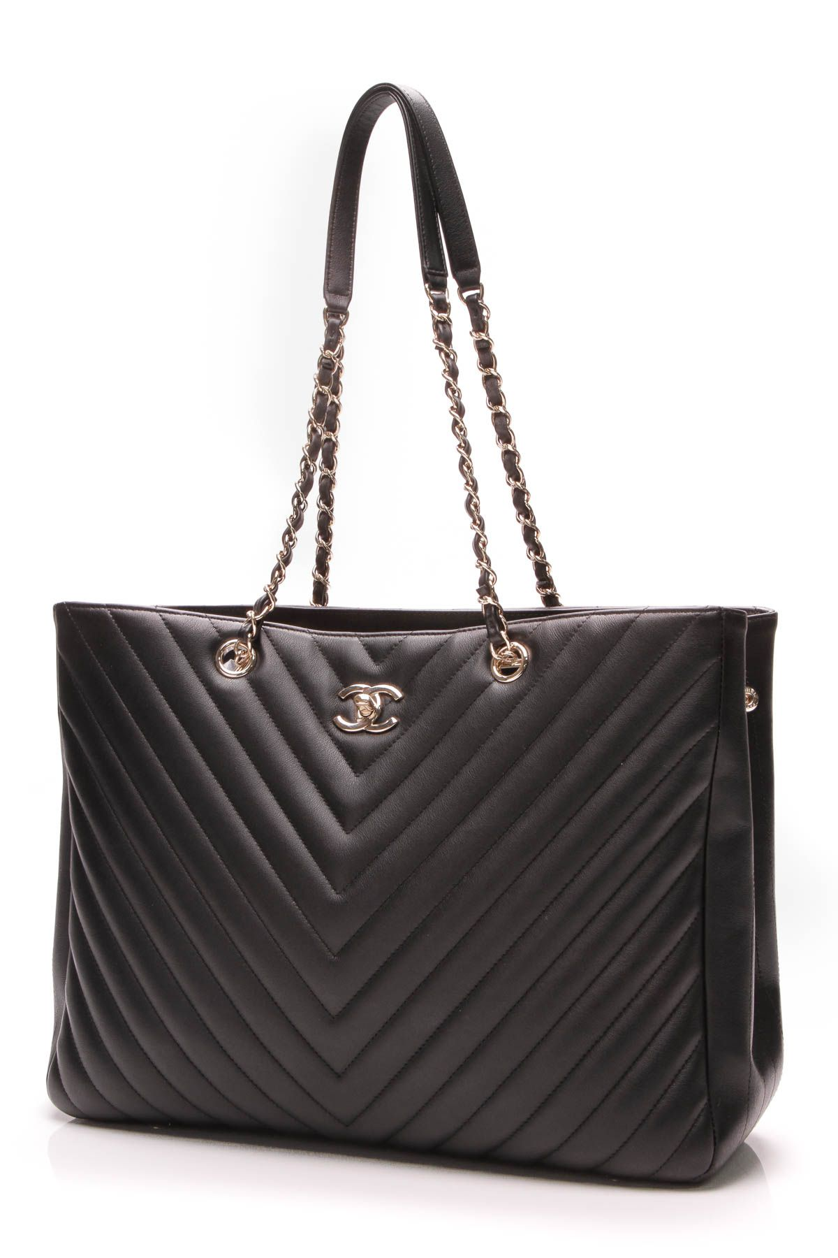 3a5d60570f8f Chevron Tote Bag - Black Grained Calfskin in 2019