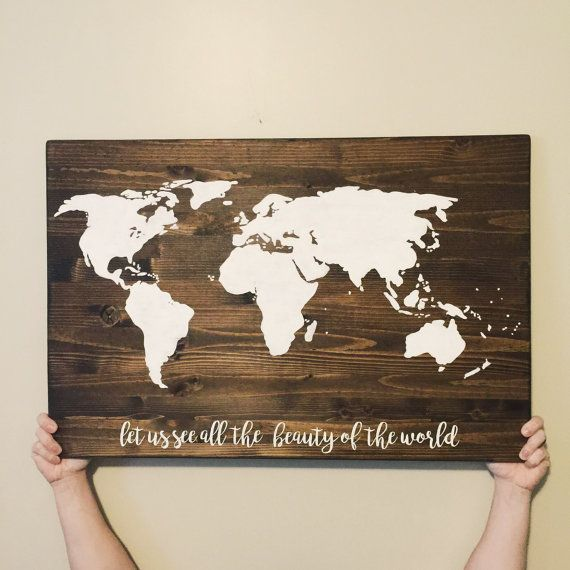World map wooden world map wooden sign by yourcustomsigns late world map wooden world map wooden sign by yourcustomsigns gumiabroncs Gallery