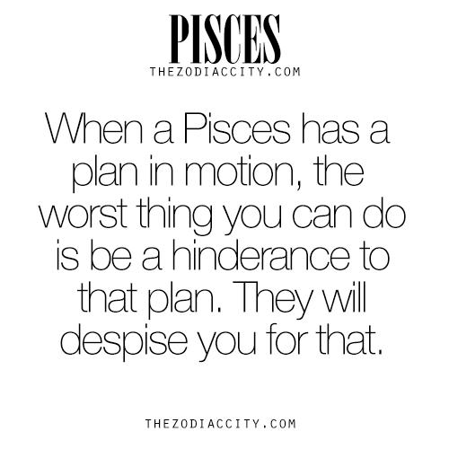 Pisces Pisces When A Pisces Has A Plan In Motion The Worst Thing You Can Do Is Be A Hindrance Pisces Quotes Pisces Horoscope Pisces