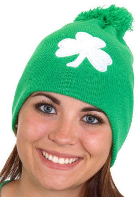 a175af5eb36 Details about St. Patrick s Day Irish Beanie Pom Pom Shamrock Clover ...