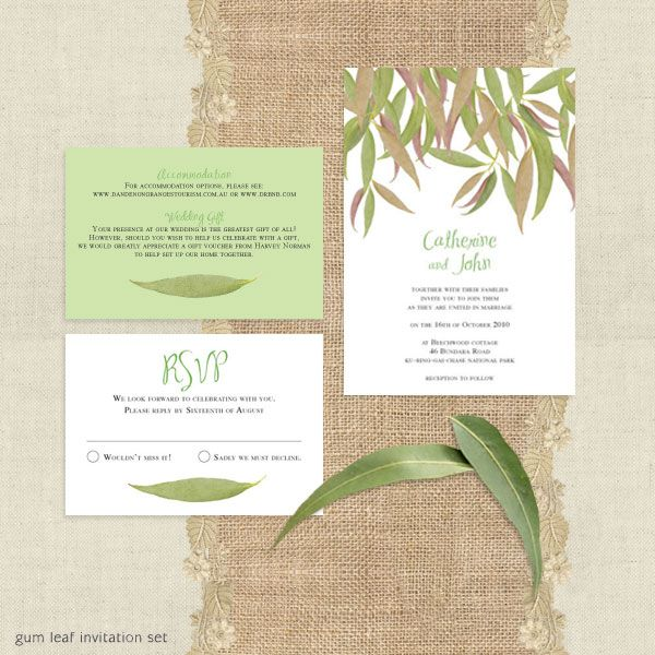 Gum leaf wedding invitation set by i do it yourself gum leaf gum leaf wedding invitation set by i do it yourself solutioingenieria Choice Image