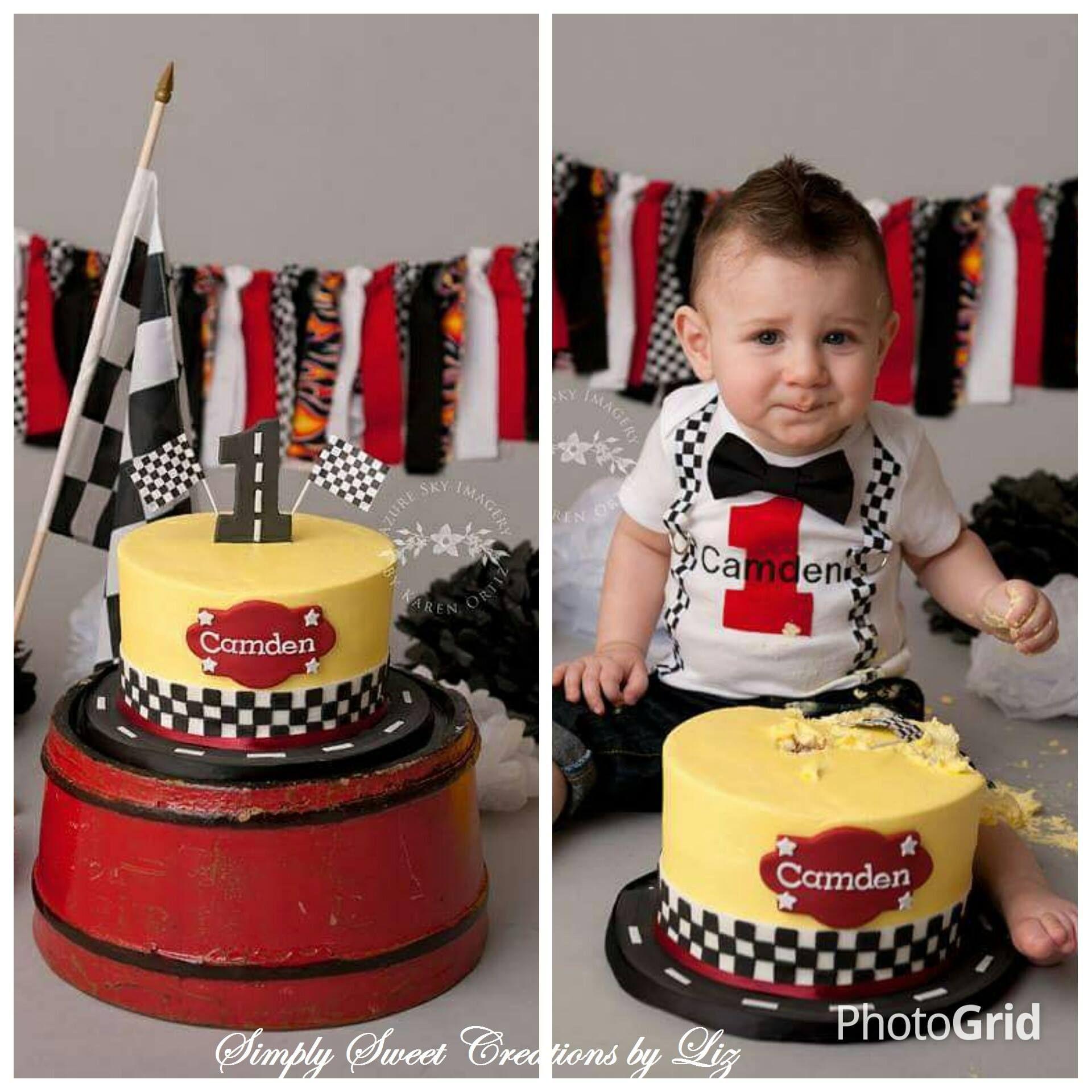 Racing Car Theme Cake Smash Absolute Cuteness