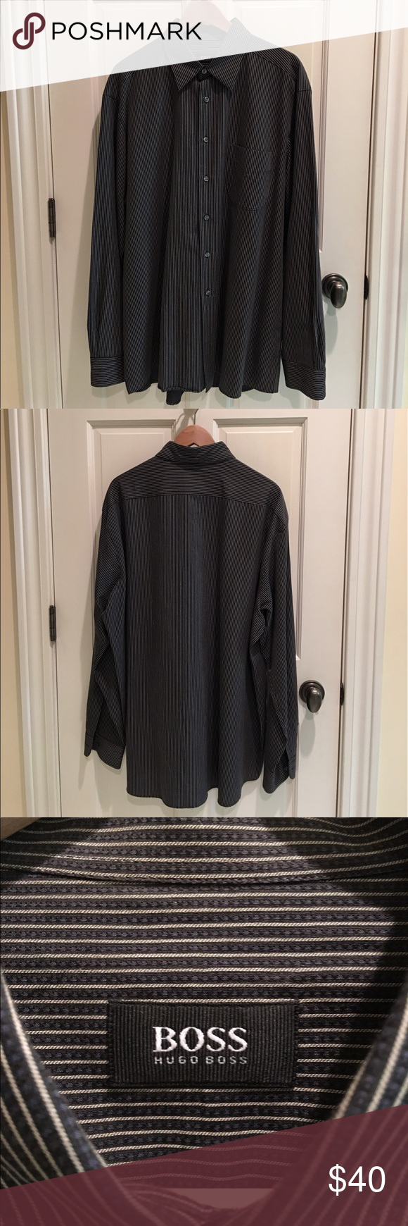Hugo Boss casual shirt Worn once, brand new condition, 100% cotton, beautiful fabric light black and white stripes Hugo Boss Shirts Casual Button Down Shirts