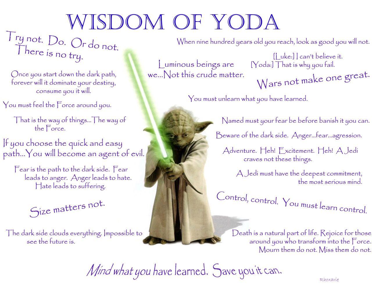 Yoda Wisdom Awesome Yoda Quotes Star Wars Star Wars Quotes