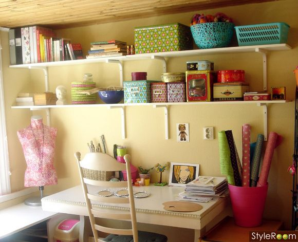 Colorful office!! craft space organization idea | Office Inspiration ...