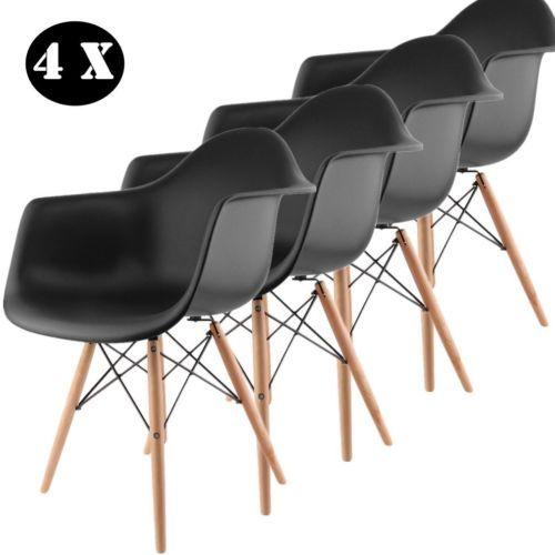 4er Wohnzimmerstuhl Retro Stuehle Dswdaw Esszimmer Buerostuele Kinderstuhl Schwarz Stuhl Beistelltisch Stuhle
