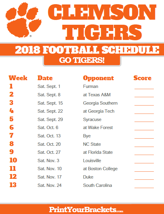 Clemson Football Schedule For 2019 2018 Printable Clemson Tigers Football Schedule | Printable
