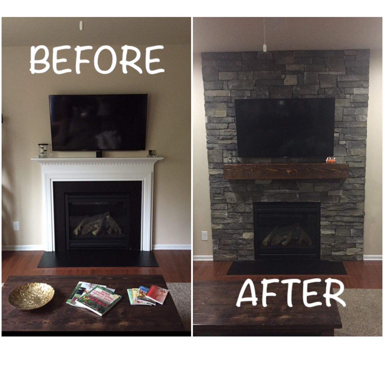 rsf opel 2 wood fireplace with boston blend ledge stone and cedar
