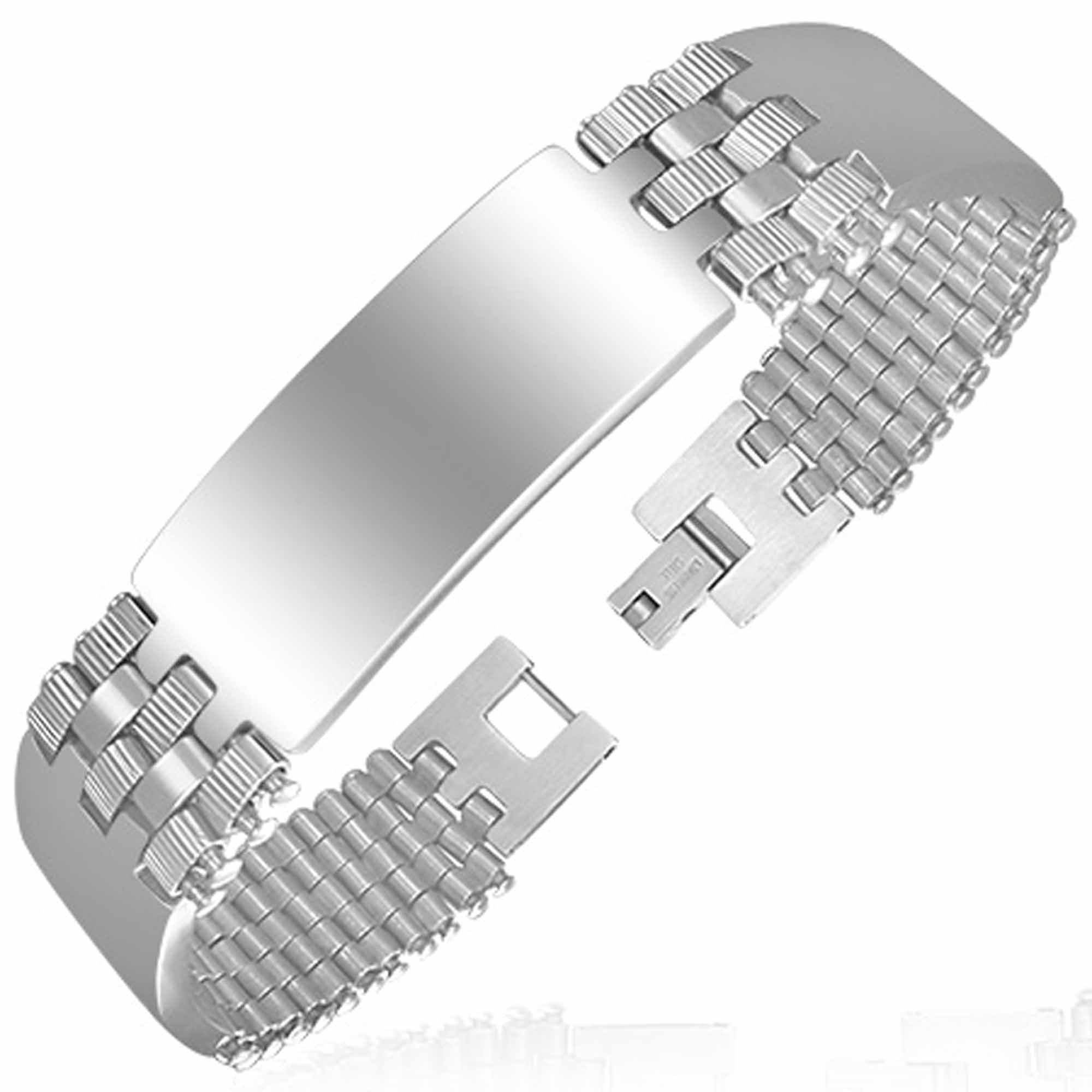 Polished Stainless Steel Watch Link Triple Id Bracelet Men's Medical