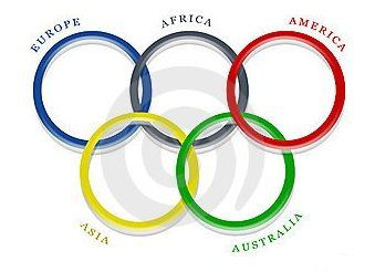 The Olympics The Rings Are Five Interlocking Rings Colored Blue Yellow Black Green And Red On A White Fie Olympic Rings Olympic Ring Colors Olympic Colors