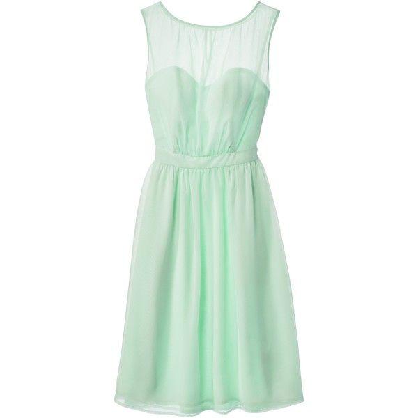 Women s Plus Size Chiffon Illusion Sleeveless Dress Cool Mint