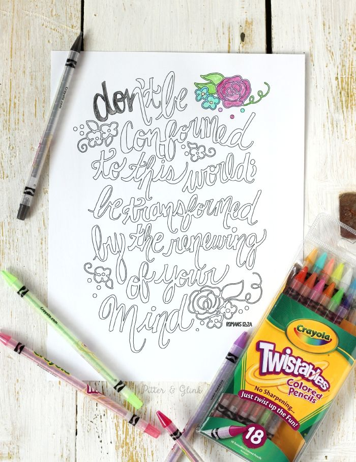 Romans 12 Hand Lettered Verse Coloring Page Pitterandglink