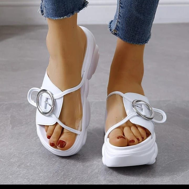 Size 34-41  Women 9cm/3.5 inch Height Wedge Slippers Fashion Shoes Woman Flat Platform Thick Bottom  #flatshoesmurah #instashoes #womenshoestyle #wedge