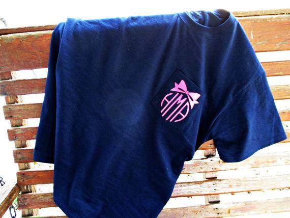 Bow Monogram Pocket Tee Monogram T Shirt Monogram On