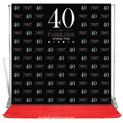 40 And Fabulous Birthday Backdrop Black 8x8 Birthday