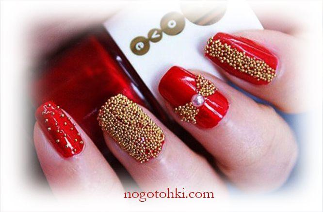 Ногти красные с золотом дизайн фото