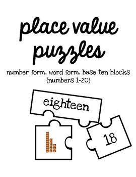 Students complete puzzles by matching the number, word and
