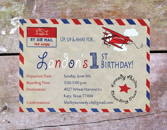 Airplane Birthday Party Invitation Vintage Air by onthesceneevents