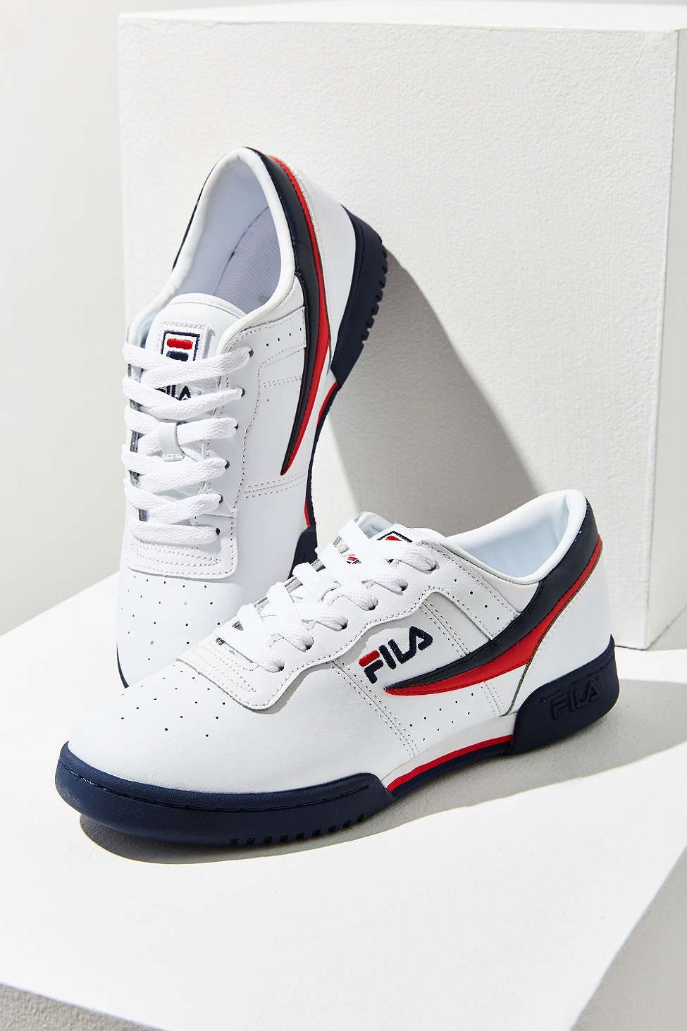 fila shoes blue red and white plaid background wallpaper