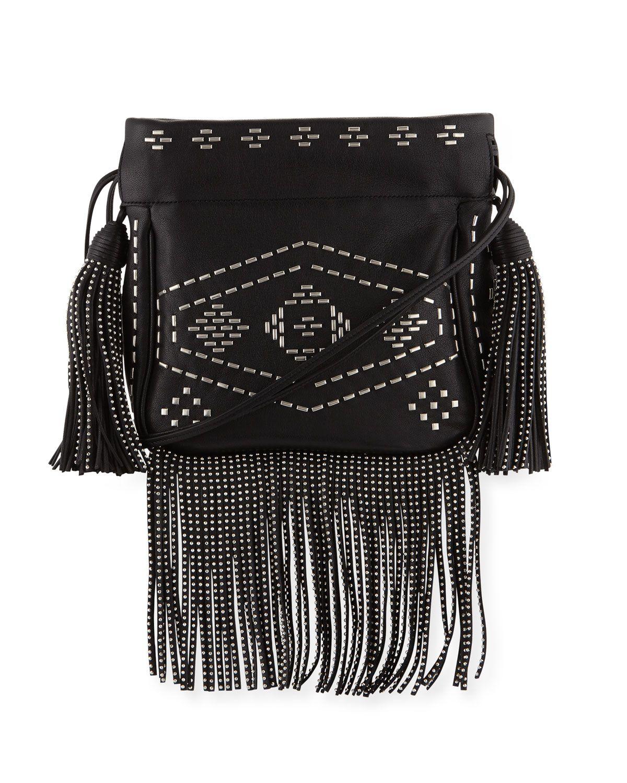00b99ea232 Yves Saint Laurent Monogram Studded Fringe Bucket Bag