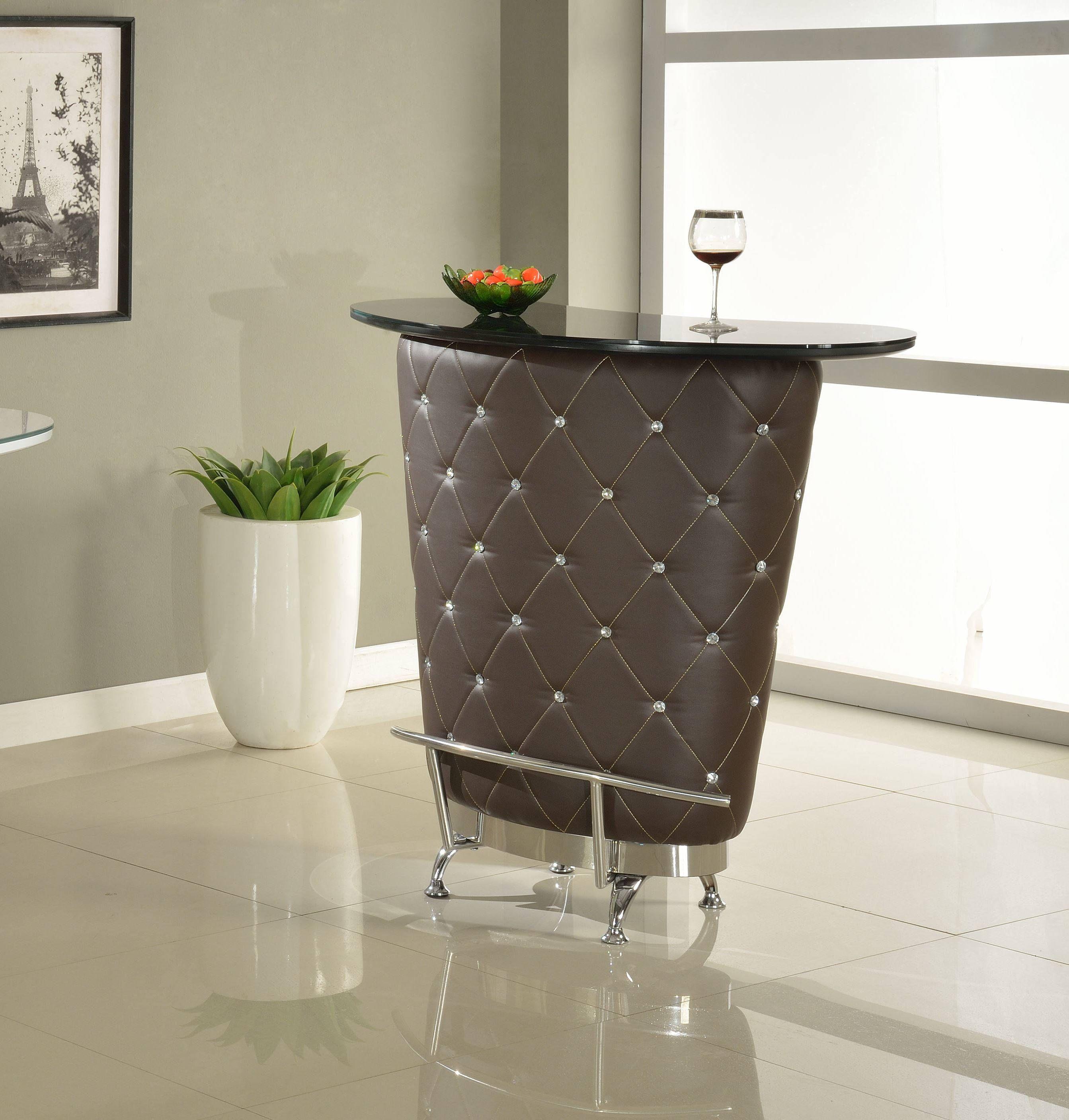 Nolita Modern Brown Glass Pu Tufted Bar Table