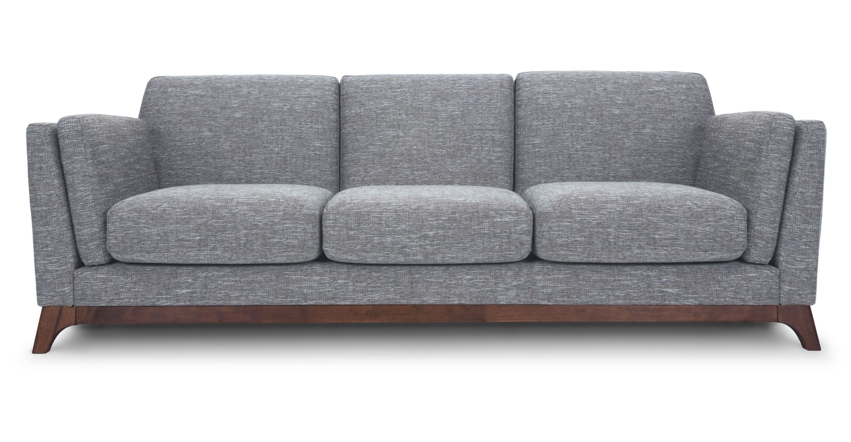 Gray sofa 3 seater with solid wood legs article ceni for Modern loveseat