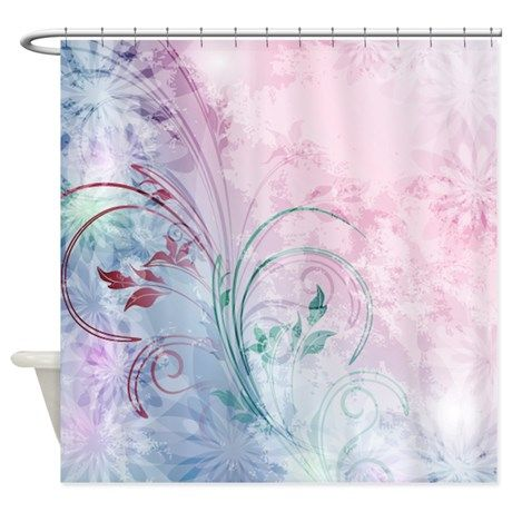 pink and blue floral Shower Curtain | Floral shower curtains and ...