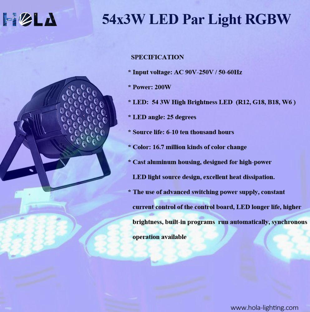 54x3w led par light full color rgbw self designed circuit and