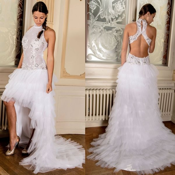 Halter raffle tulle short front long back sexy wedding dress