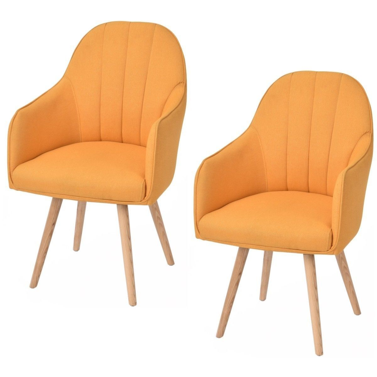 Best Set Of 2 Yellow Accent Dining Chairs With Wood Legs Good 400 x 300